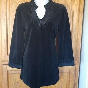 Talbots cozy stretch velvet tunic small